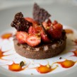 Tarte au chocolat et fraises